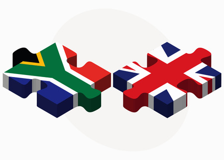 cape town: Vector Image - South Africa and United Kingdom Flags in puzzle isolated on white background Illustration