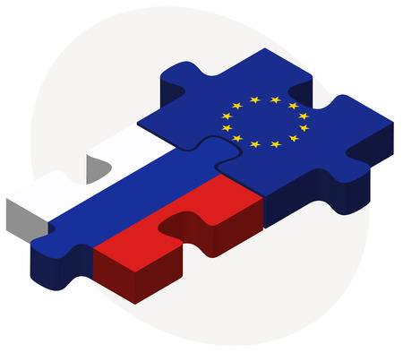 russian federation: Vector Image - Russian Federation and European Union Flags in puzzle isolated on white background