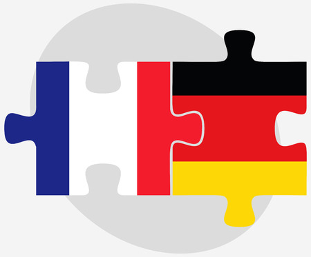 Vector Image - France and Germany Flags in puzzle isolated on white background Stock Illustratie