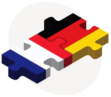 ベクトル画像 - フランスとドイツのフラグのパズルに孤立した白い背景  イラスト・ベクター素材