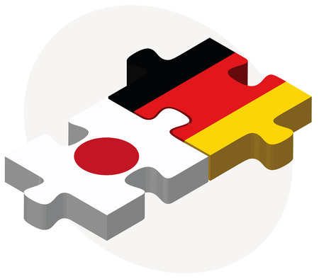 Vector Image - Japan and Germany Flags in puzzle isolated on white background Illustration