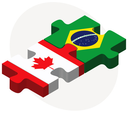 Vector Image - Canada and Brazil Flags in puzzle isolated on white background Stock Illustratie