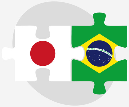 nihon: Vector Image - Japan and Brazil Flags in puzzle isolated on white background