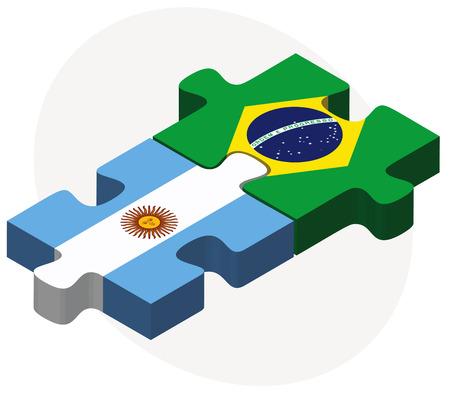 ベクトル画像 - アルゼンチンとブラジルのフラグのパズルに孤立した白い背景  イラスト・ベクター素材