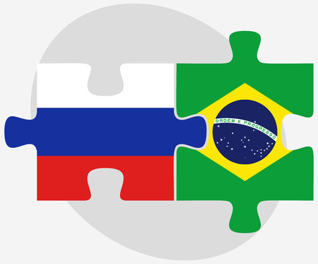 russian federation: Vector Image - Russian Federation and Brazil Flags in puzzle isolated on white background Illustration