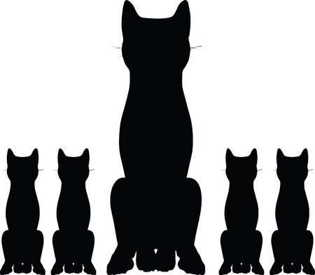 cat silhouette: Vector Image - cat silhouette isolated on white background Illustration