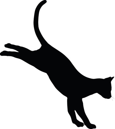 Vector Image - cat silhouette isolated on white background Stock Illustratie