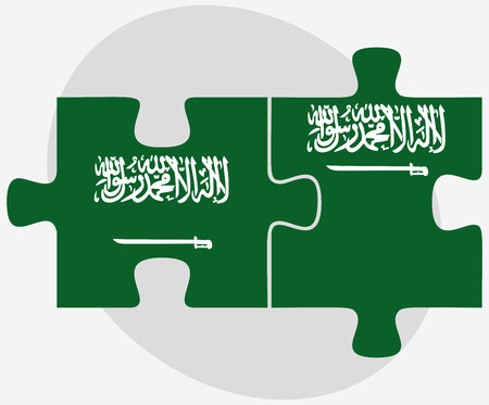 arabia: Vector Image - Saudi Arabia and Saudi Arabia Flags in puzzle isolated on white background