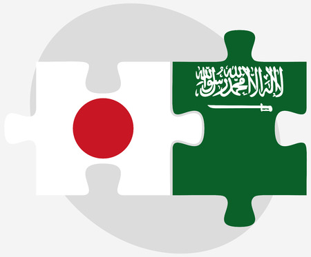 nihon: Vector Image - Japan and Saudi Arabia Flags in puzzle isolated on white background