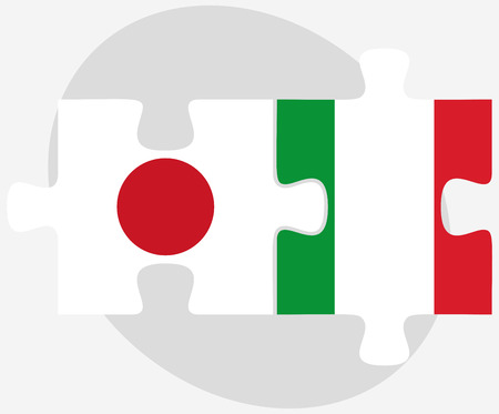 nihon: Vector Image - Japan and Italy Flags in puzzle isolated on white background