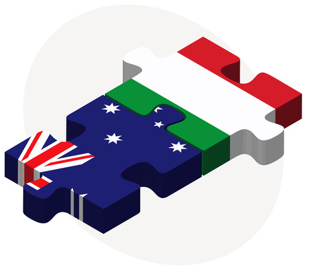 Vector Image - Australia and Italy Flags in puzzle isolated on white background
