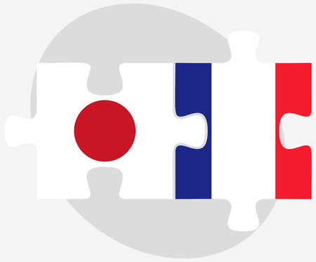 nihon: Vector Image - Japan and France Flags in puzzle isolated on white background