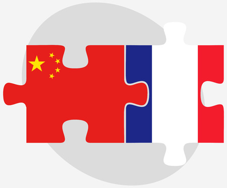 asian business team: Vector Image - China and France Flags in puzzle isolated on white background Illustration