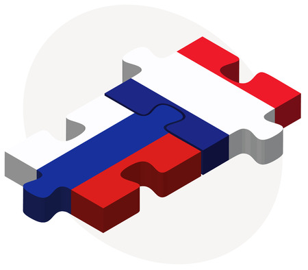 russian federation: Vector Image - Russian Federation and France Flags in puzzle isolated on white background Illustration