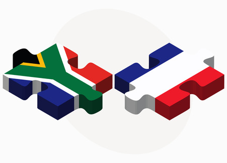 cape town: Vector Image - South Africa and France Flags in puzzle isolated on white background