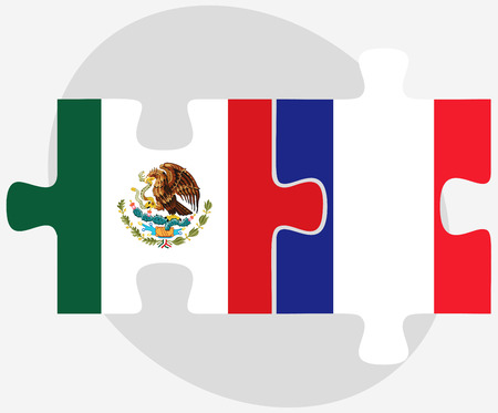 Vector Image - Mexico and France Flags in puzzle isolated on white background Иллюстрация