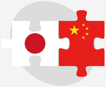 nihon: Vector Image - Japan and China Flags in puzzle Illustration