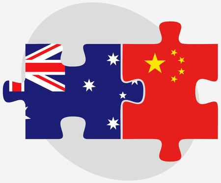 ベクトル画像 - オーストラリアと中国のフラグのパズルに孤立した白い背景