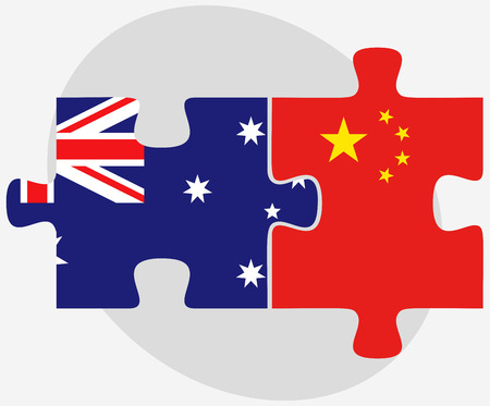 Vector Image - Australia and China Flags in puzzle isolated on white background