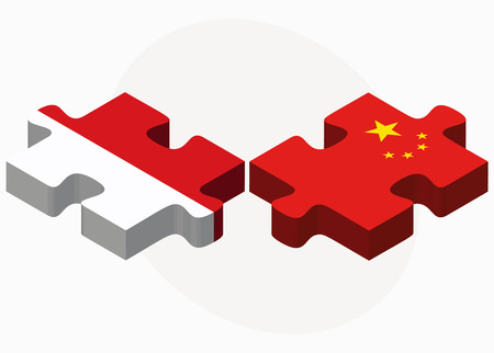 asian business team: Vector Image - Indonesia and China Flags in puzzle isolated on white background