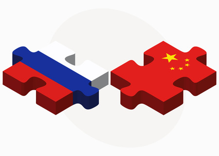 russian federation: Vector Image - Russian Federation and China Flags in puzzle isolated on white background Illustration