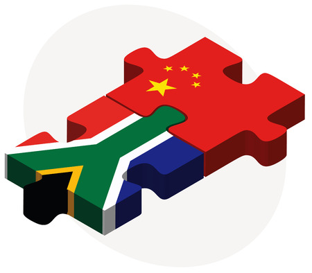 asian business team: Vector Image - South Africa and China Flags in puzzle isolated on white background