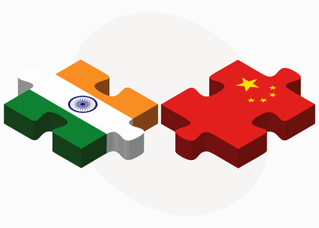 asian business team: Vector Image - India and China Flags in puzzle isolated on white background