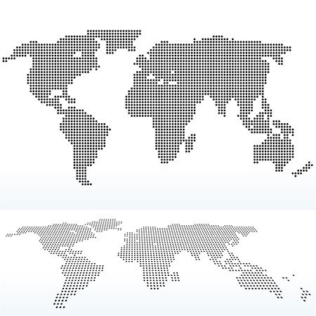 ドットのパターンで、世界の地図のイラスト