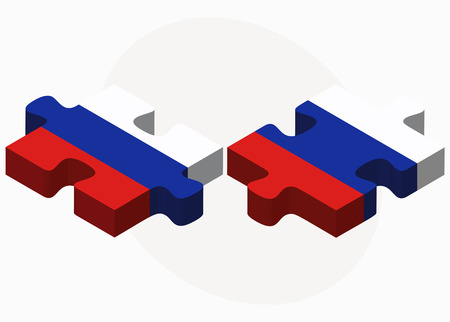 russian federation: Russian Federation and Russian Federation in puzzle isolated on white background