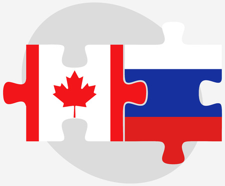 federation: Canada and Russian Federation in puzzle isolated on white background Illustration
