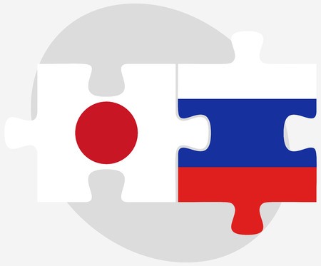 russian federation: Japan and Russian Federation in puzzle isolated on white background