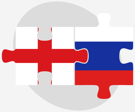russian federation: England and Russian Federation in puzzle isolated on white background