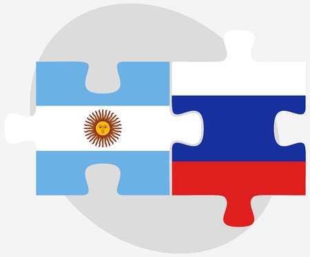 federation: Argentina and Russian Federation in puzzle isolated on white background Illustration