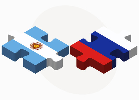 the federation: Argentina and Russian Federation in puzzle isolated on white background Illustration