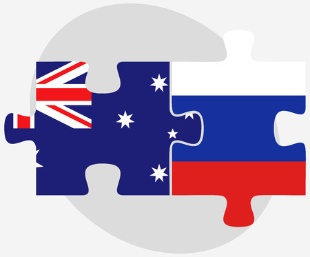 russian federation: Australia and Russian Federation in puzzle isolated on white background