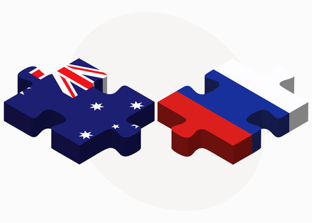 federation: Australia and Russian Federation in puzzle isolated on white background