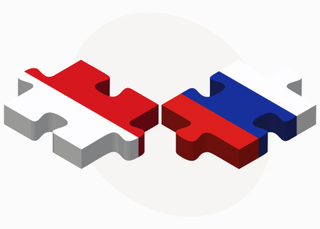 the federation: Indonesia and Russian Federation in puzzle isolated on white background Illustration