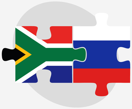 federation: South Africa and Russian Federation in puzzle isolated on white background