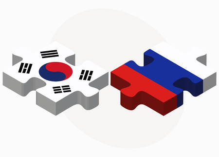 russian federation: South Korea and Russian Federation in puzzle isolated on white background