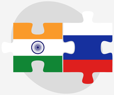 russian federation: India and Russian Federation in puzzle isolated on white background