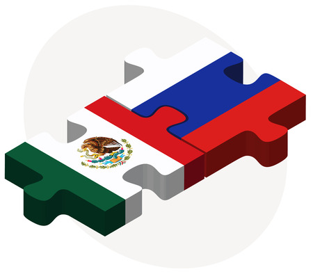 russian federation: Mexico and Russian Federation in puzzle isolated on white background