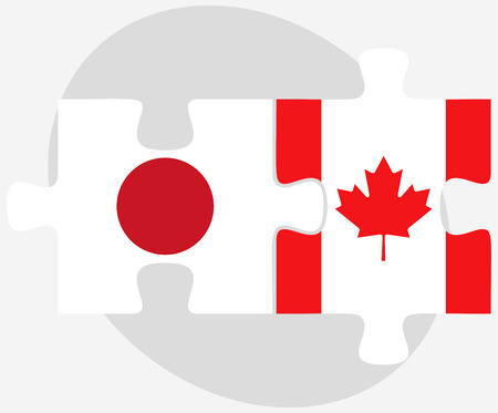 nihon: Japan and Canada Flags in puzzle isolated on white background Illustration