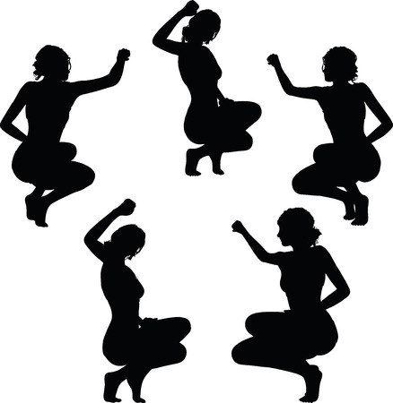 the triumph: women silhouette with hand gesture of triumph sign Illustration