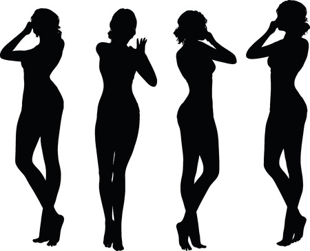 holding nose: women silhouette with hand gesture of holding nose