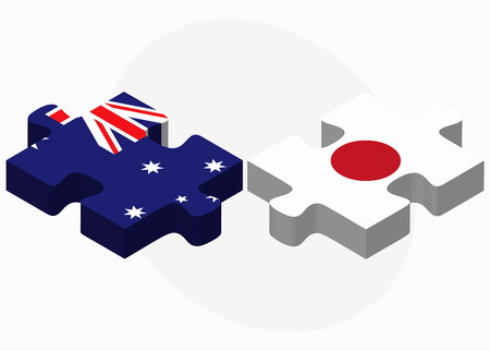 nihon: Australia and Japan Flags in puzzle isolated on white background