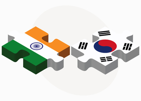 south india: India and South Korea Flags in puzzle isolated on white background