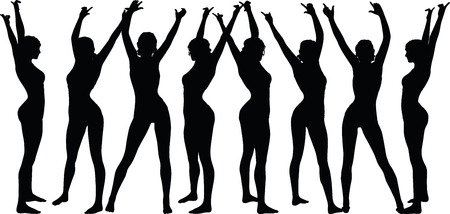 overcoming: women silhouette with hand gesture of hands-up