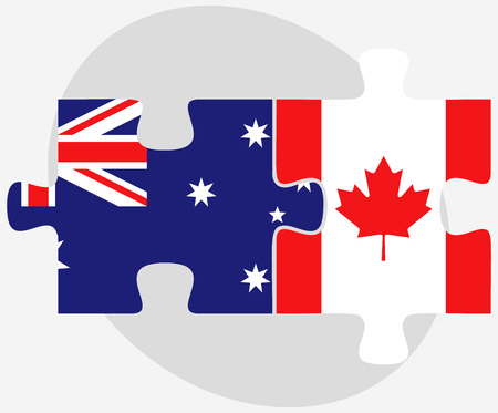 canada flag: Australia and Canada Flags in puzzle isolated on white background
