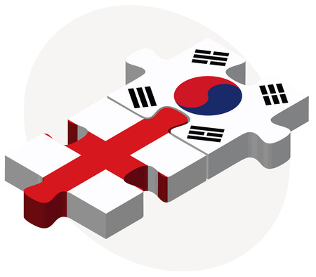 asian business team: England and South Korea Flags in puzzle isolated on white background Illustration