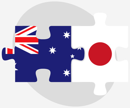 nippon: Australia and Japan Flags in puzzle isolated on white background